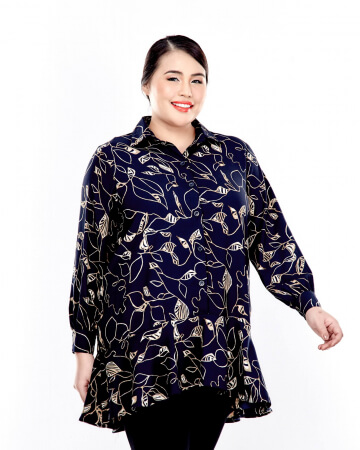 Black Printed Button Up Blouse With Long Puff Sleeve
