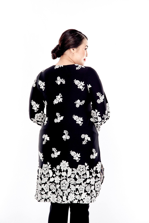 Black Printed Long Sleeve Blouse 2