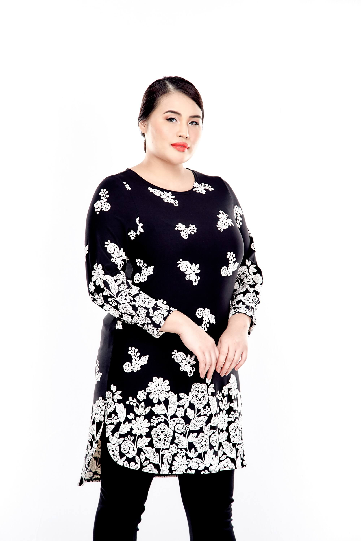 Black Printed Long Sleeve Blouse