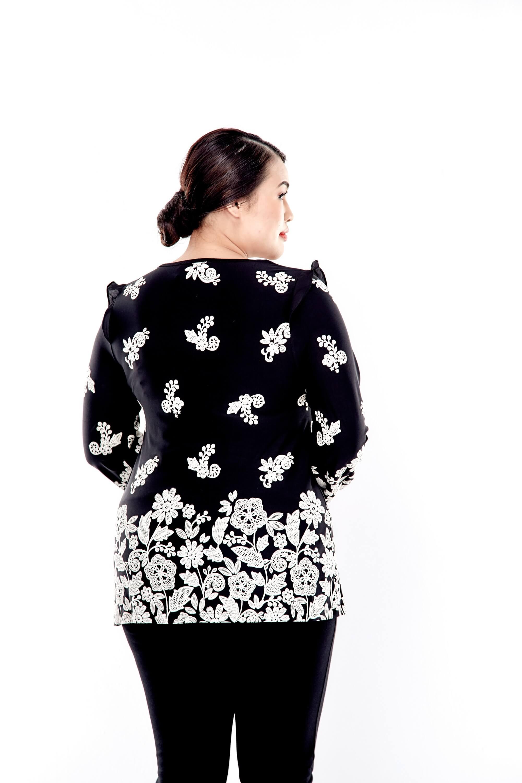 Black Printed Long Sleeve Blouse With Chiffon Frills At Shoulder 2