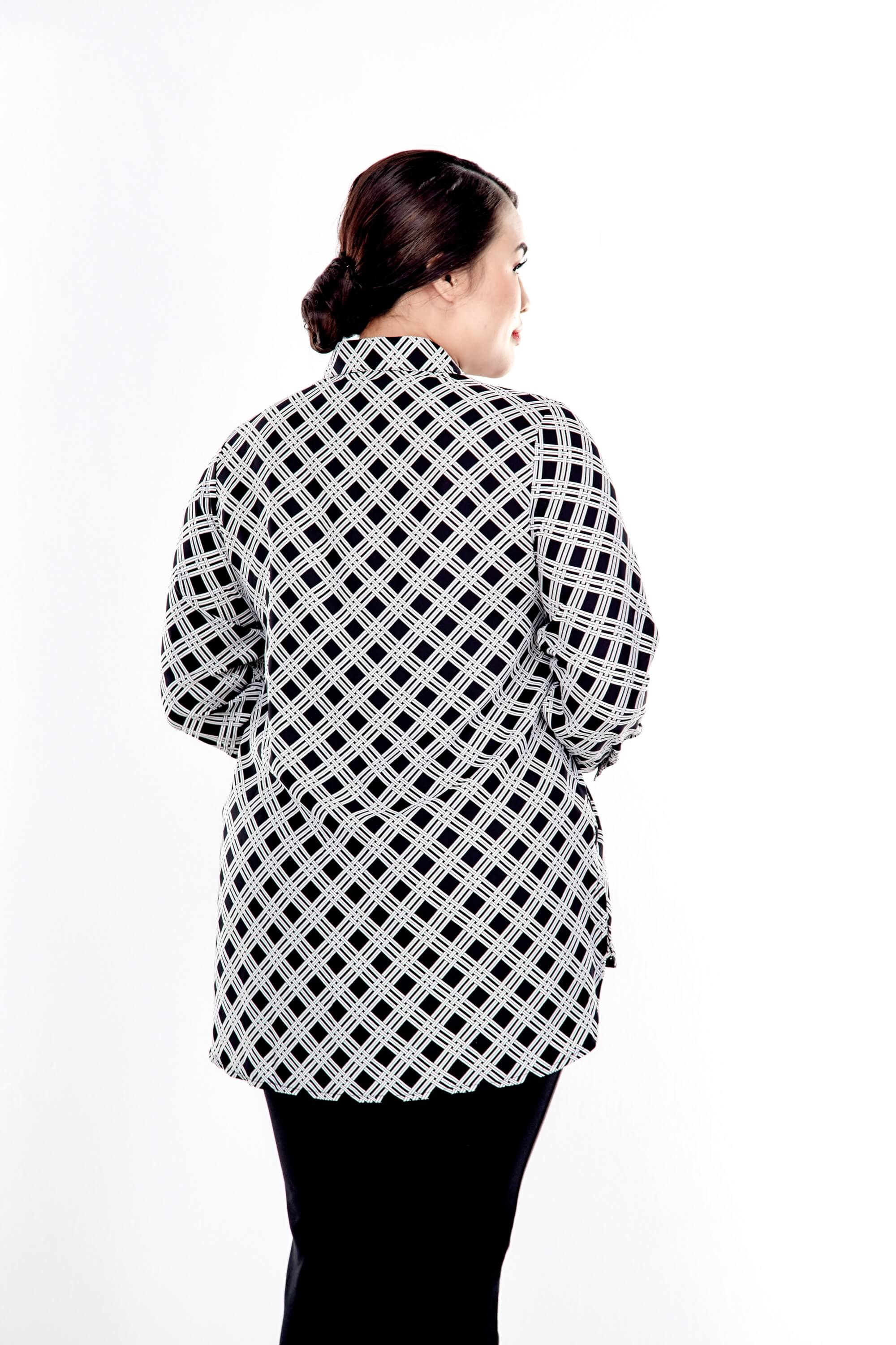 Black Printed Long Sleeve Button Up Blouse 2