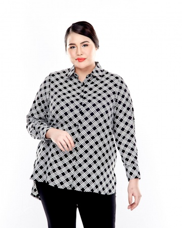 Black Printed Long Sleeve Button Up Blouse