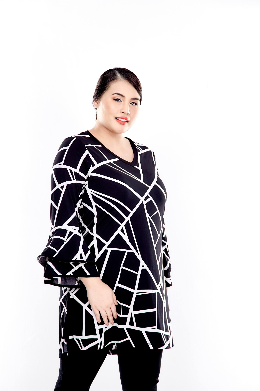 Black Printed V Neck Long Sleeve Blouse 1