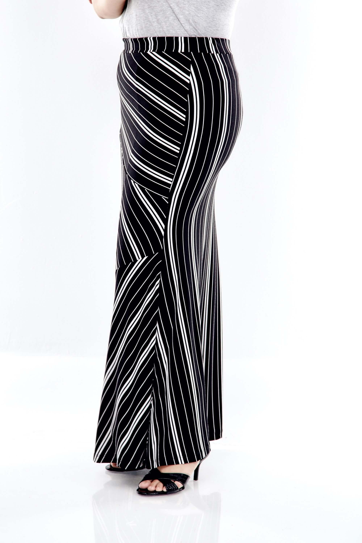 Black Striped Long Skirt 2