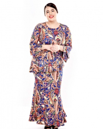 Blue Printed Layers Gathers Blouse