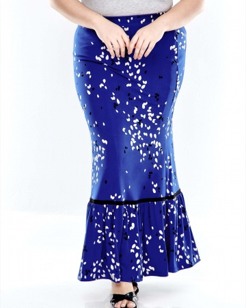 Blue Printed Long Skirt With Ruffle