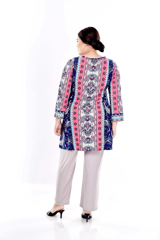 Blue Printed Long Sleeve Blouse 1