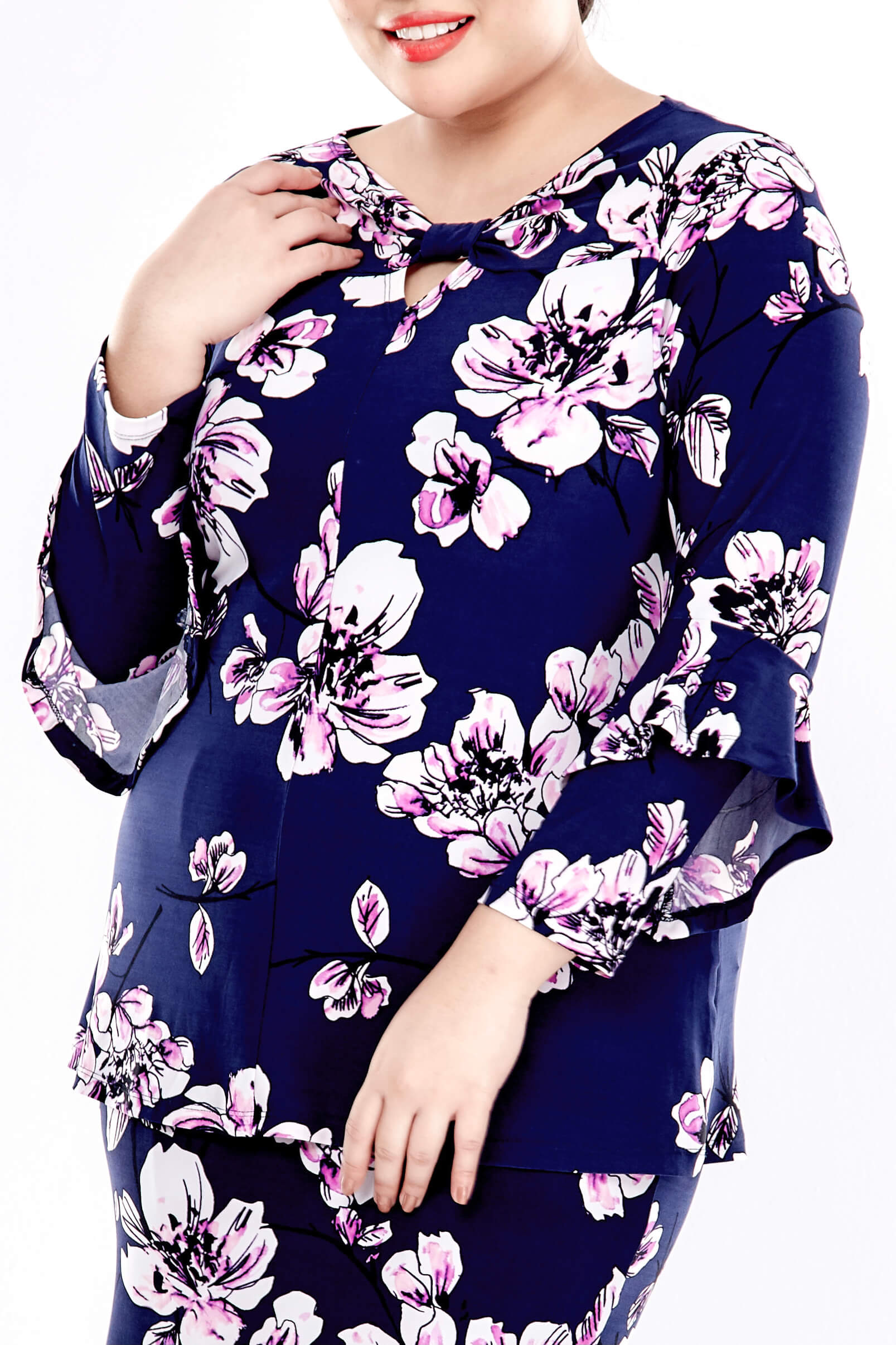 Blue Printed Long Sleeve Blouse With Front Bow 2
