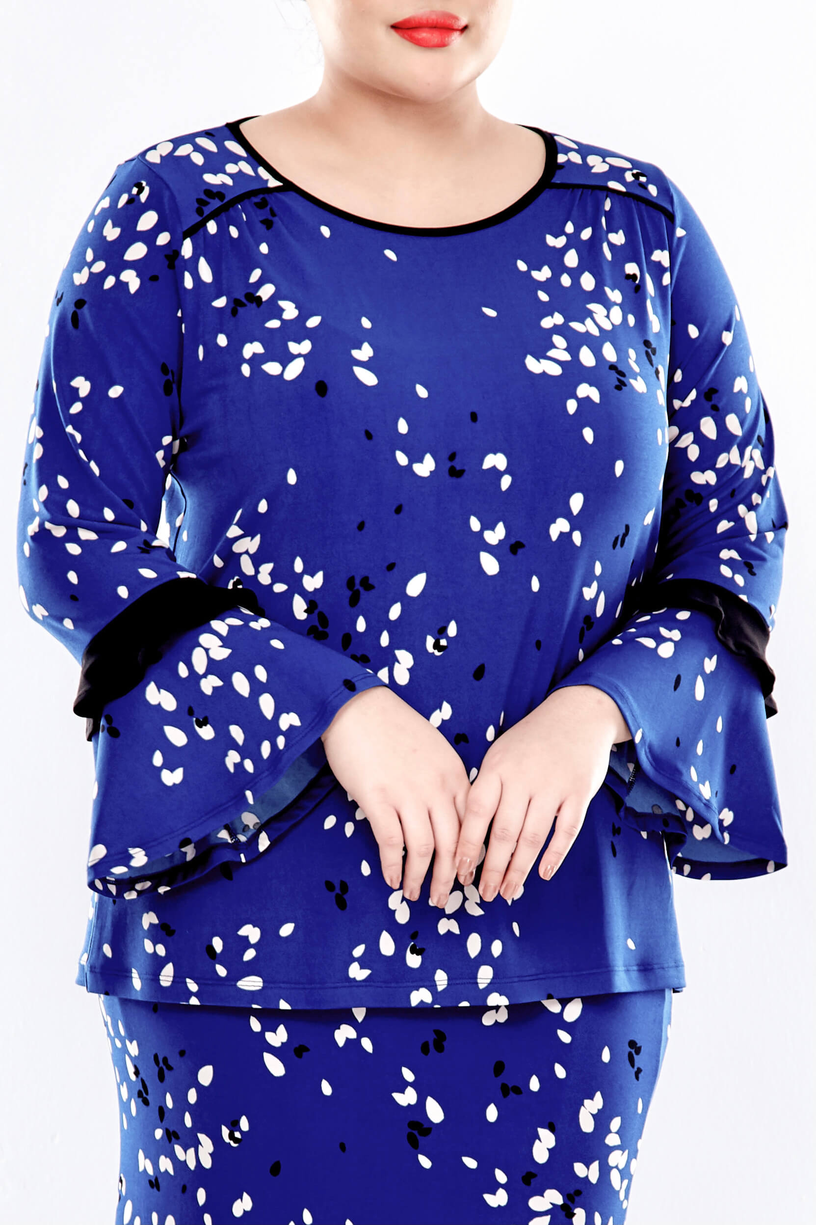 Blue Printed Long Sleeve Blouse With Gathers At Shoulder 3