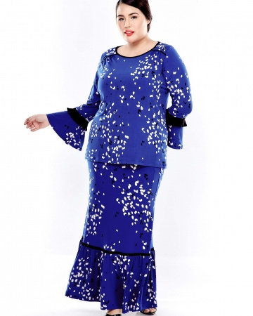 Blue Printed Long Sleeve Blouse With Gathers At Shoulder