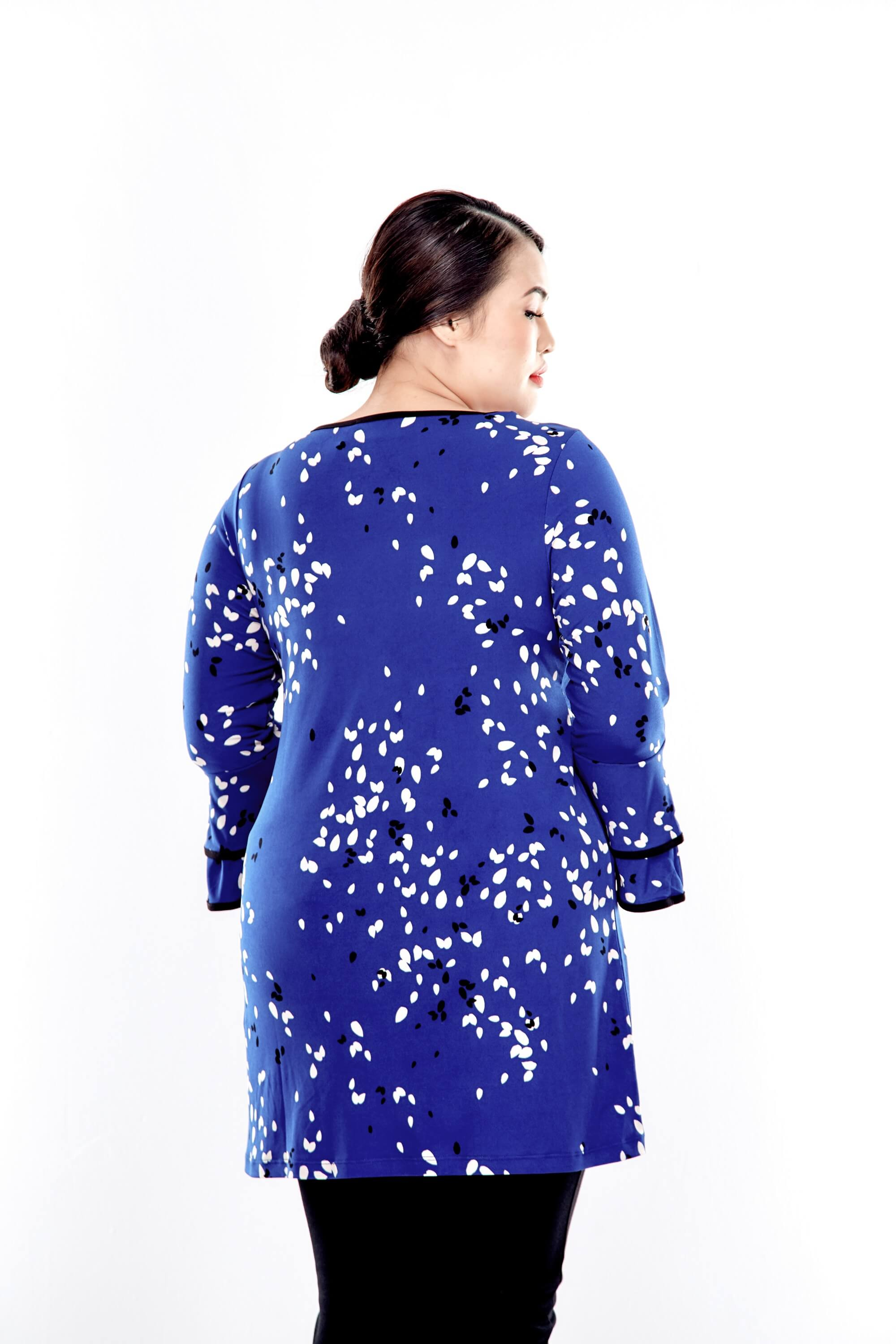 Blue Printed Long Sleeve Blouse With Layer Sleeve 2
