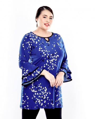Blue Printed Long Sleeve Blouse With Layer Sleeve