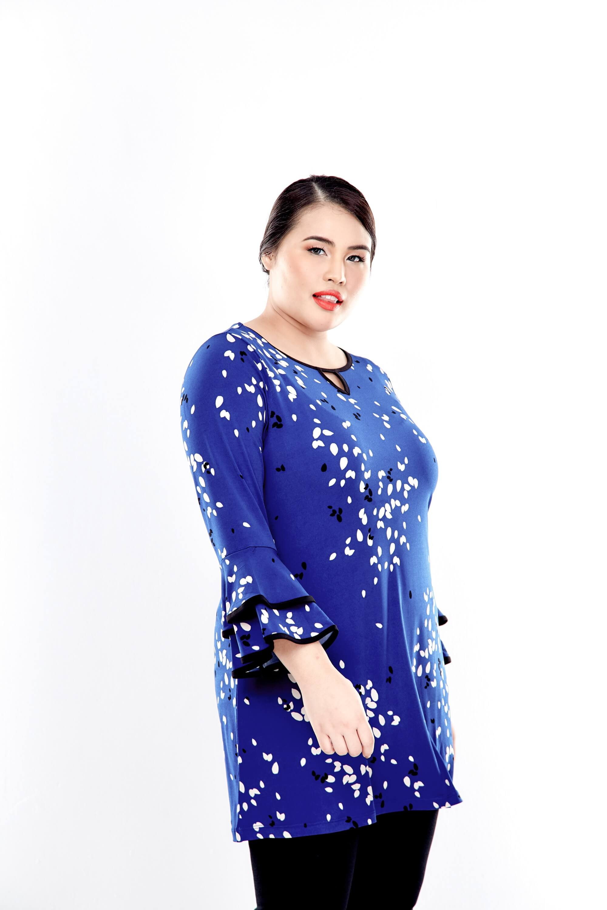 Blue Printed Long Sleeve Blouse With Layer Sleeve 4