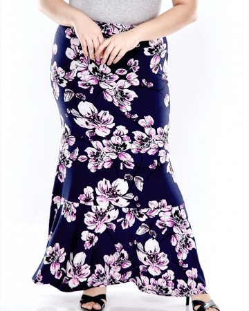 Blue Printed Skirt With Flare Cut Bottom