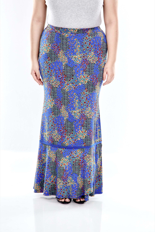Blue Printed Skirt With Overlap Bottom 1