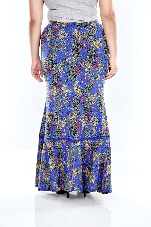 Blue Printed Skirt With Overlap Bottom 2
