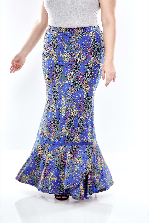 Blue Printed Skirt With Overlap Bottom