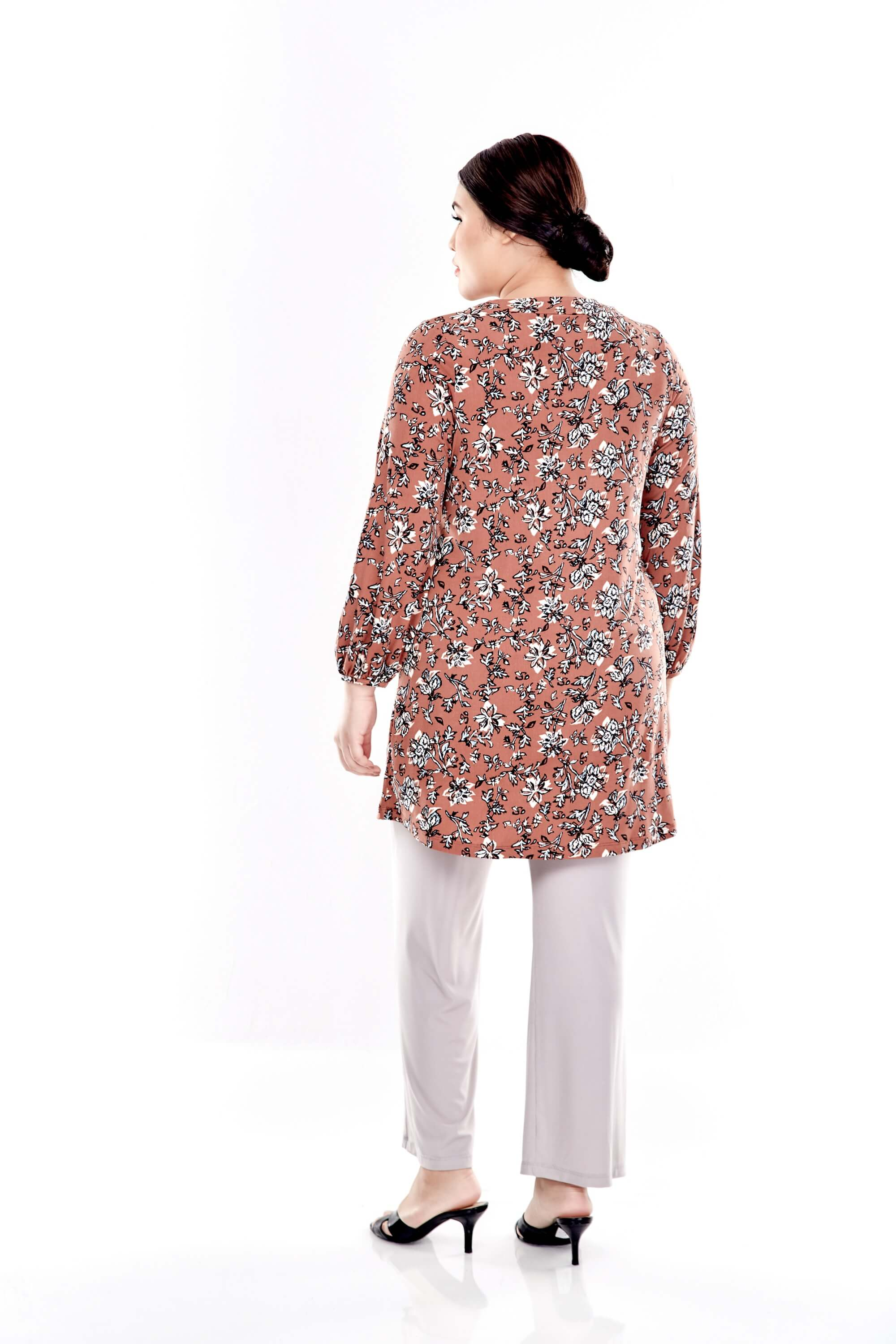 Brown Printed Long Puffle Sleeve Top With Mushroom Button 1