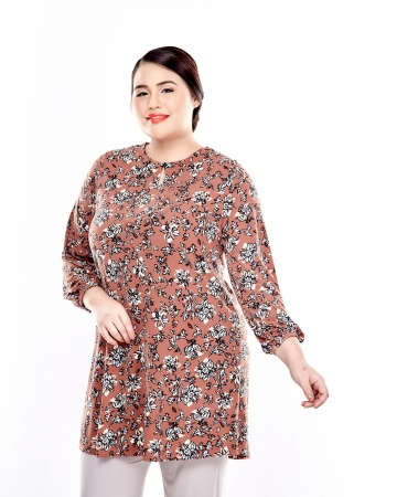 Brown Printed Long Puffle Sleeve Top With Mushroom Button