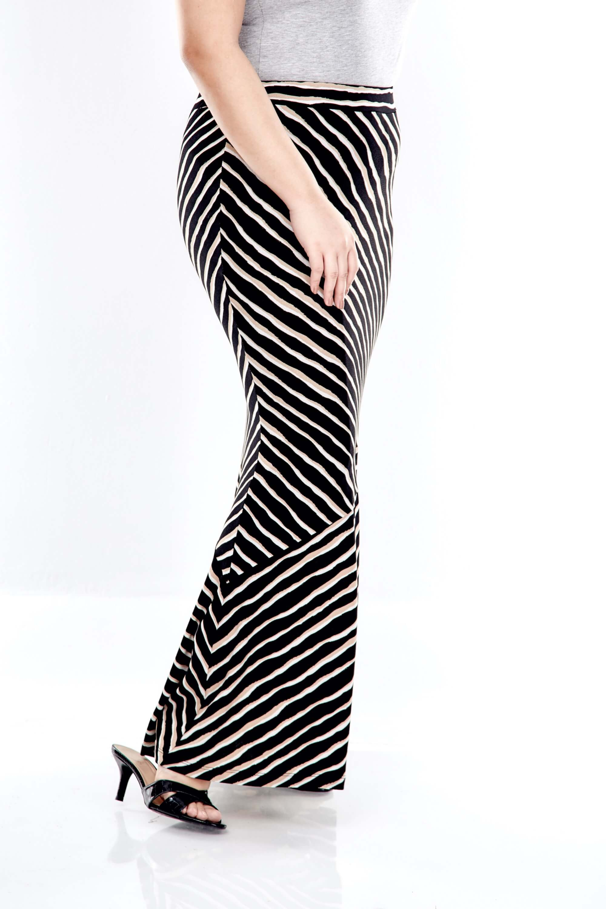 Brown Striped Long Skirt With Cut At Bottom 1