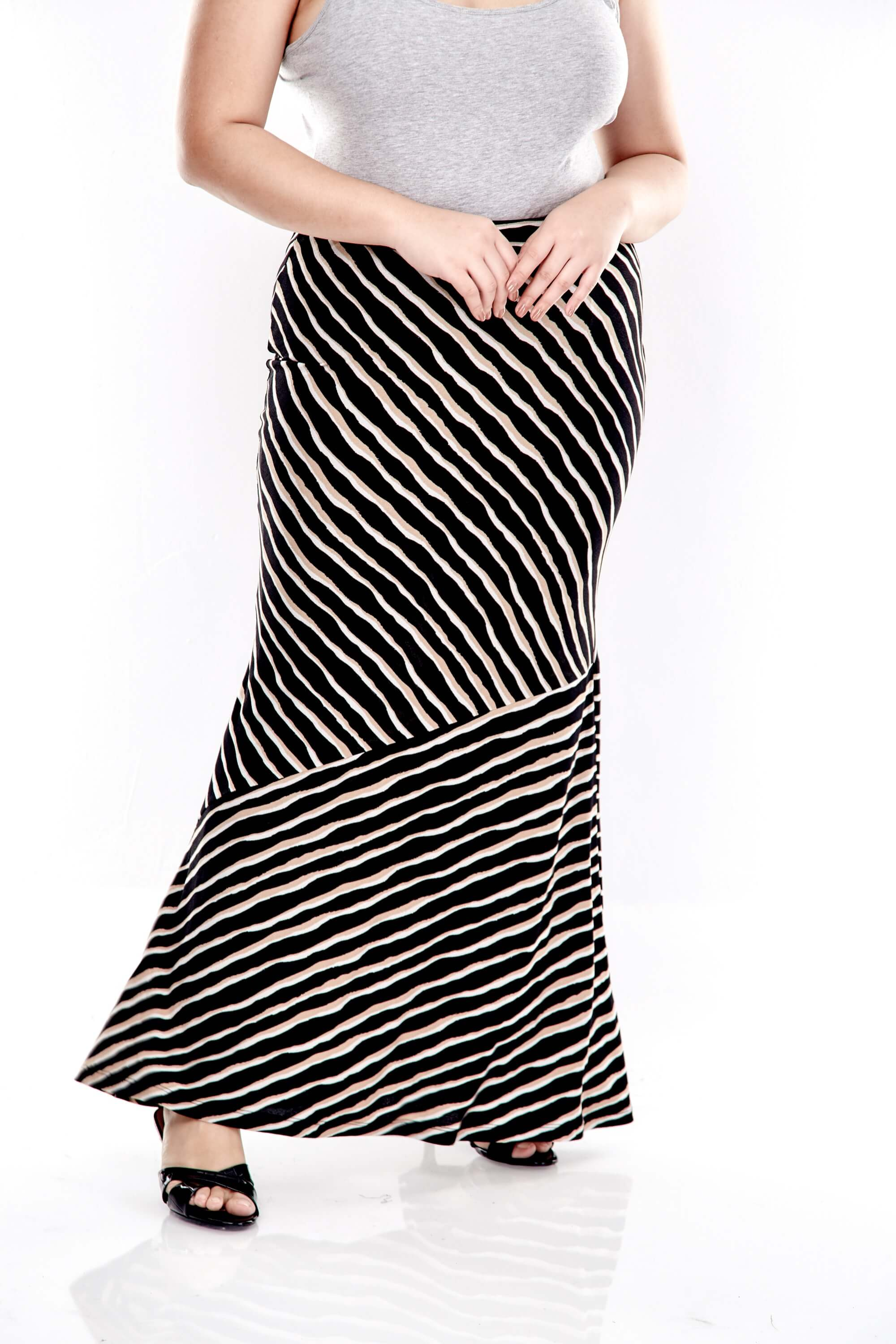 Brown Striped Long Skirt With Cut At Bottom