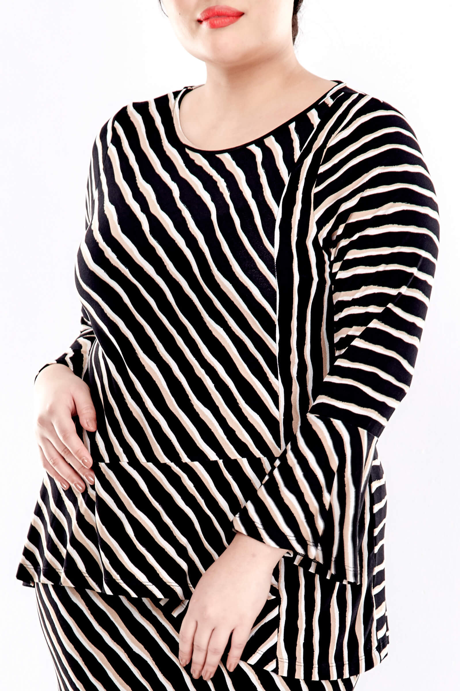 Brown Striped Long Sleeve Blouse 4