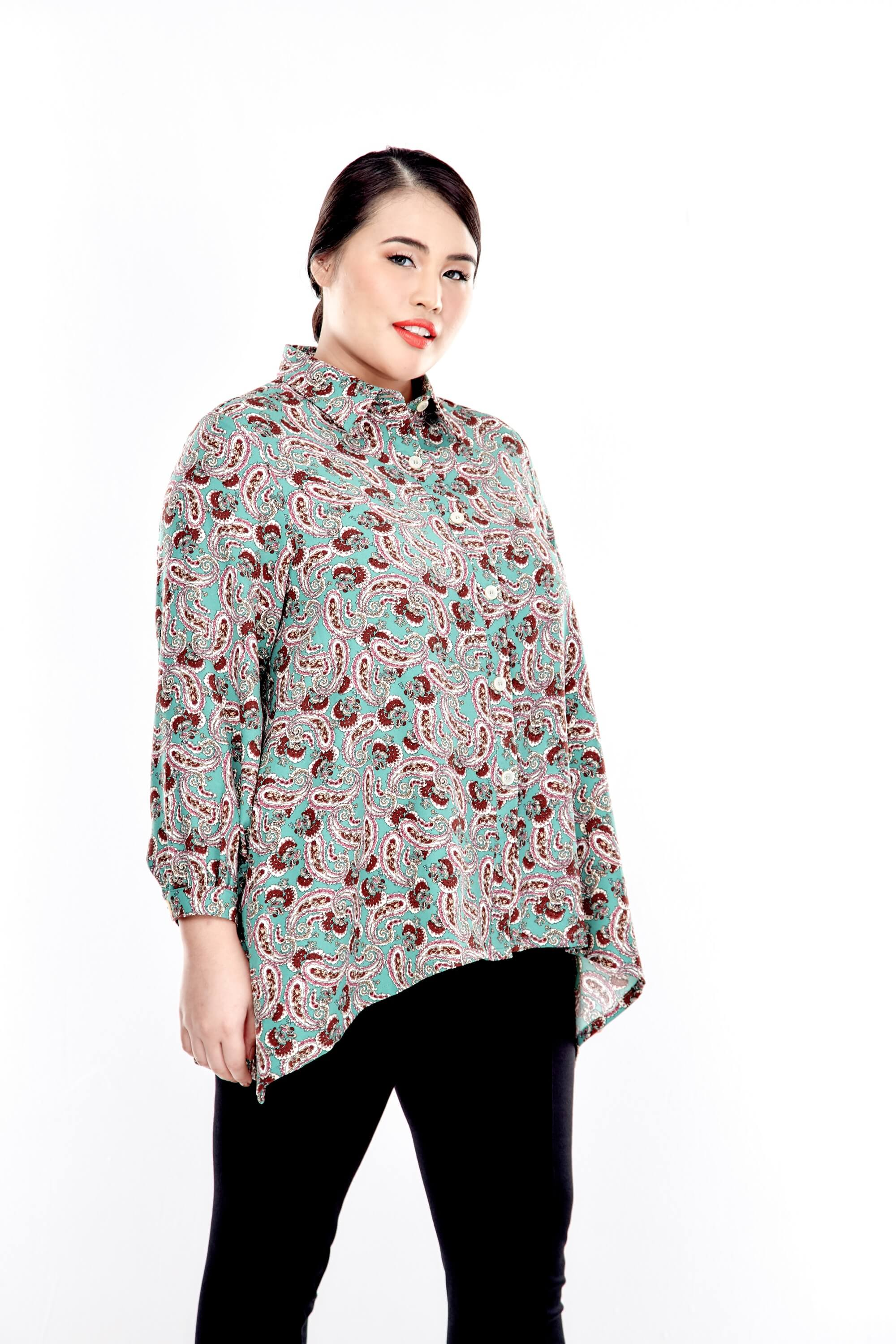 Green Printed Button Up Blouse With Long Puff Sleeve 1