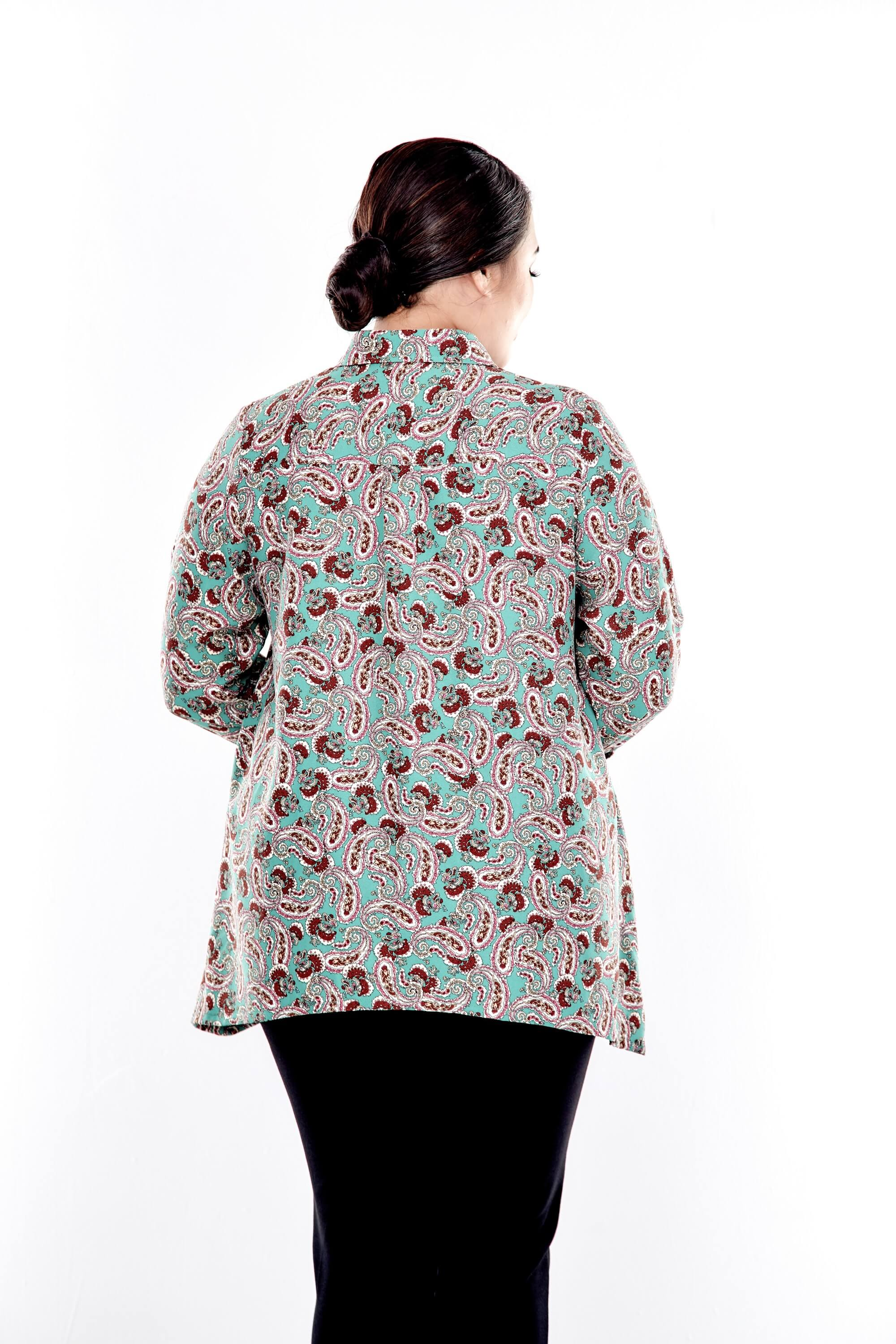 Green Printed Button Up Blouse With Long Puff Sleeve 2