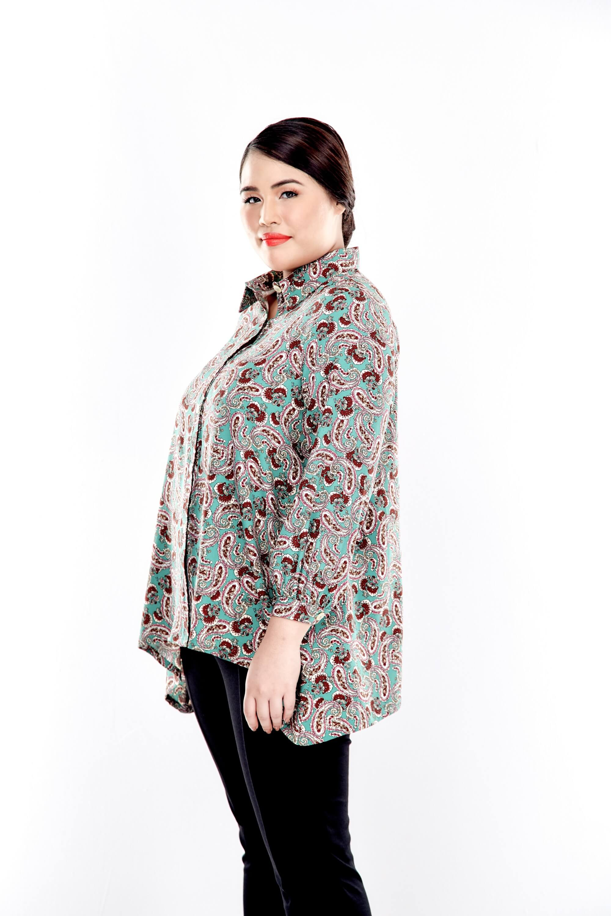 Green Printed Button Up Blouse With Long Puff Sleeve 3