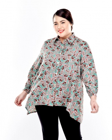 Green Printed Button Up Blouse With Long Puff Sleeve