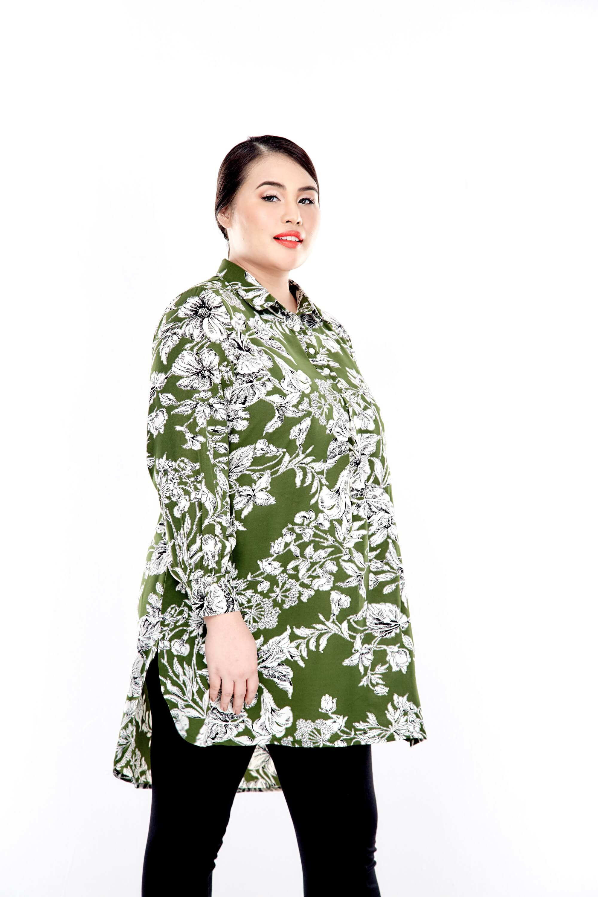 Green Printed Long Puff Sleeve With Front Button Top 1