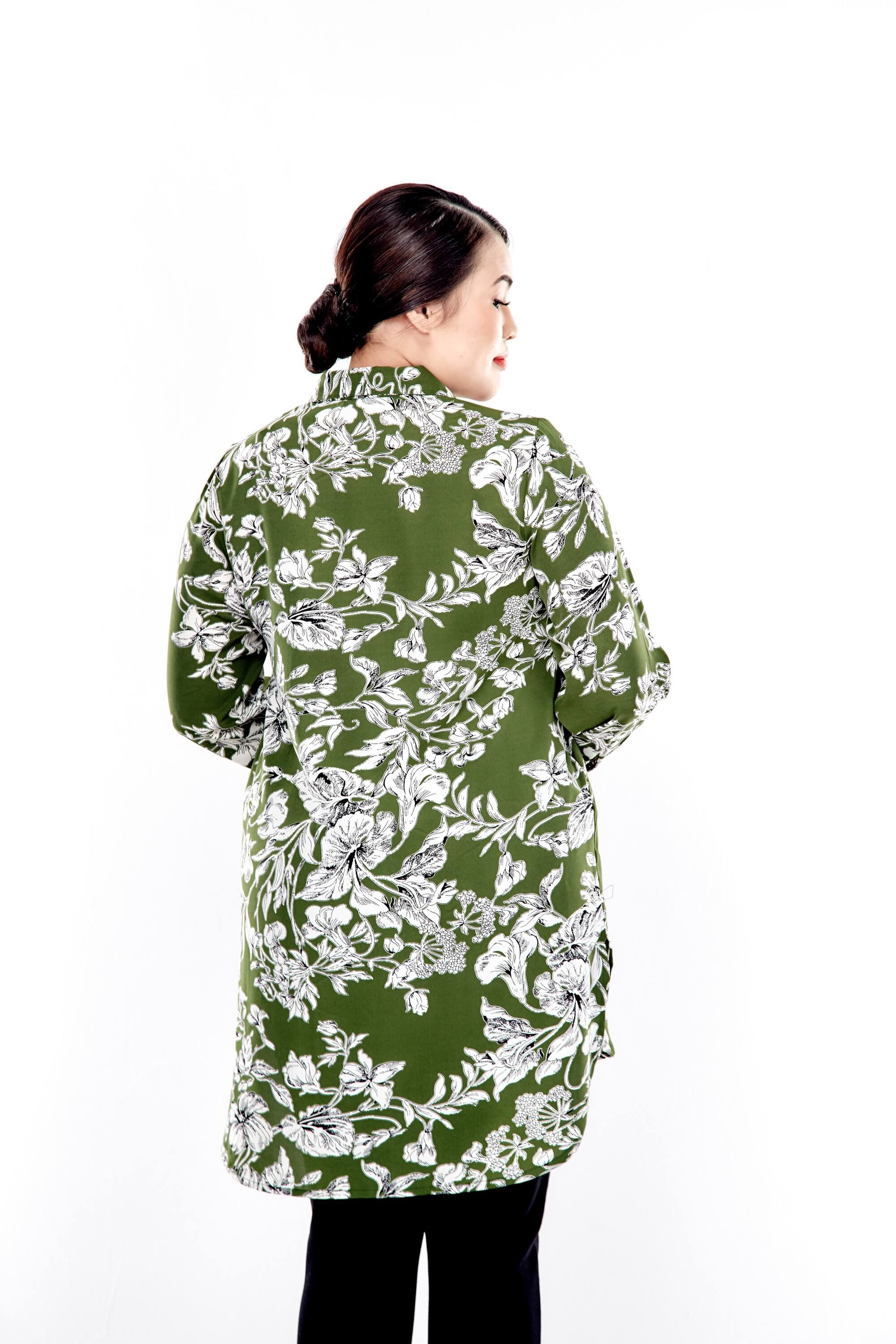 Green Printed Long Puff Sleeve With Front Button Top 2