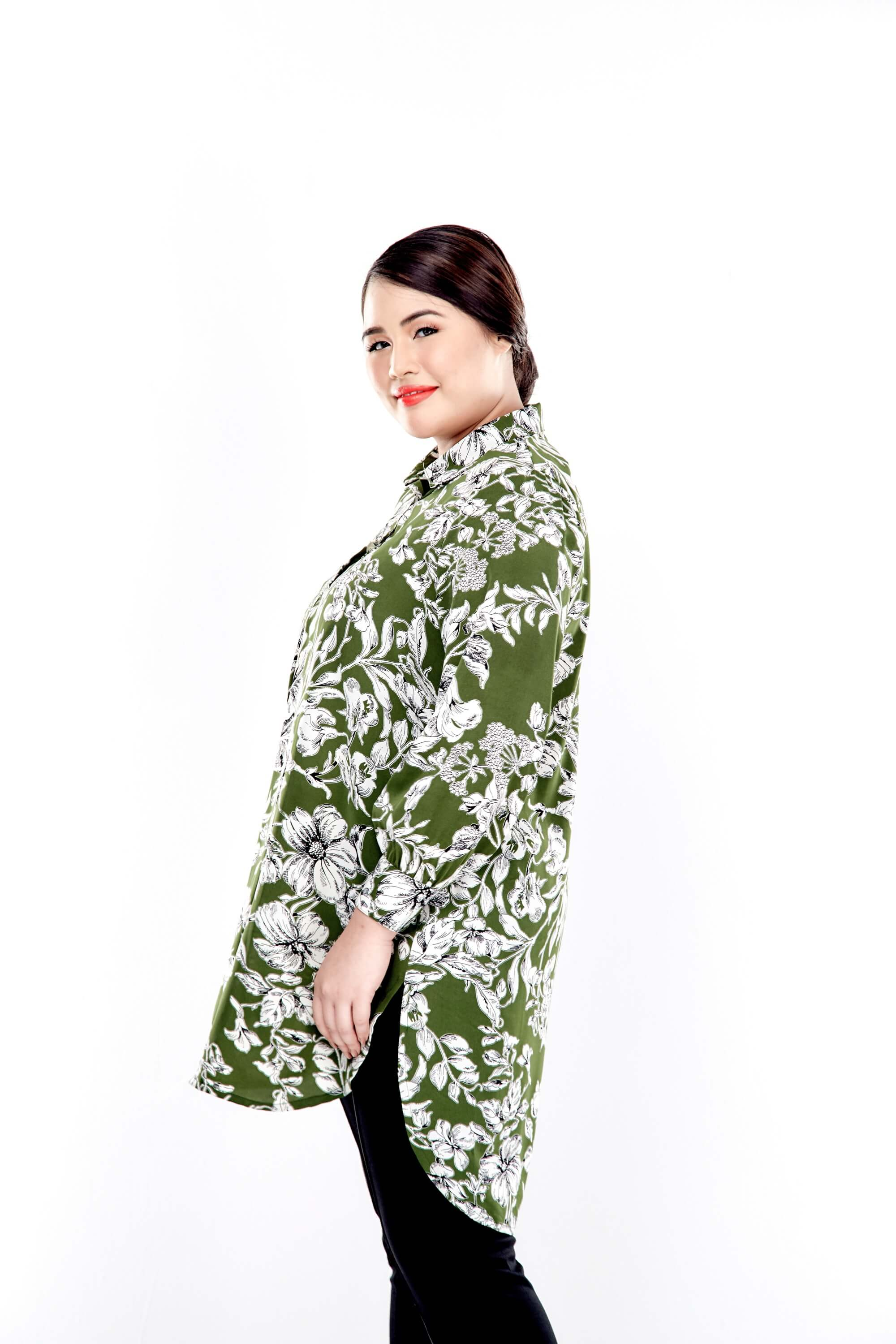 Green Printed Long Puff Sleeve With Front Button Top 3
