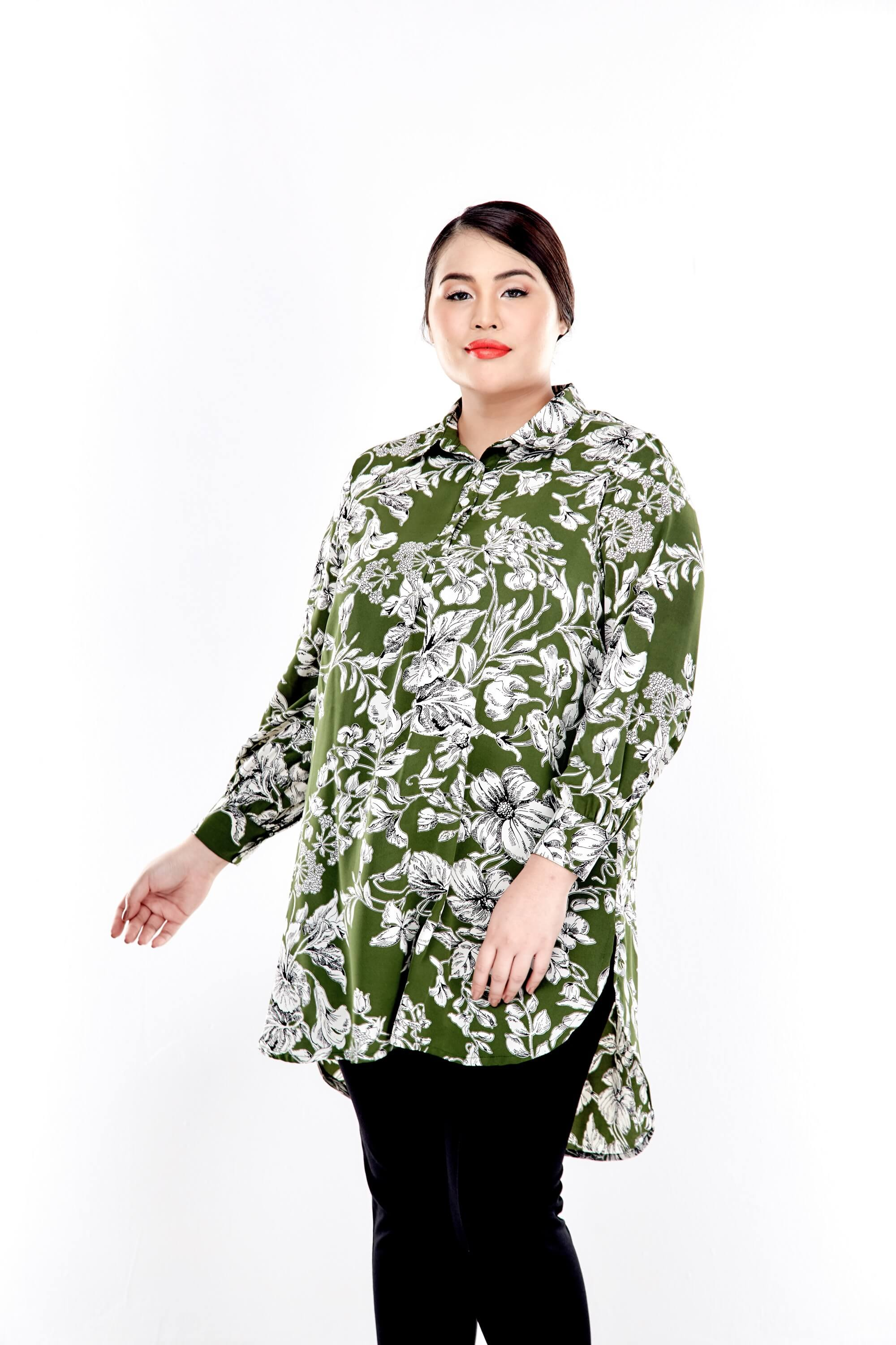 Green Printed Long Puff Sleeve With Front Button Top