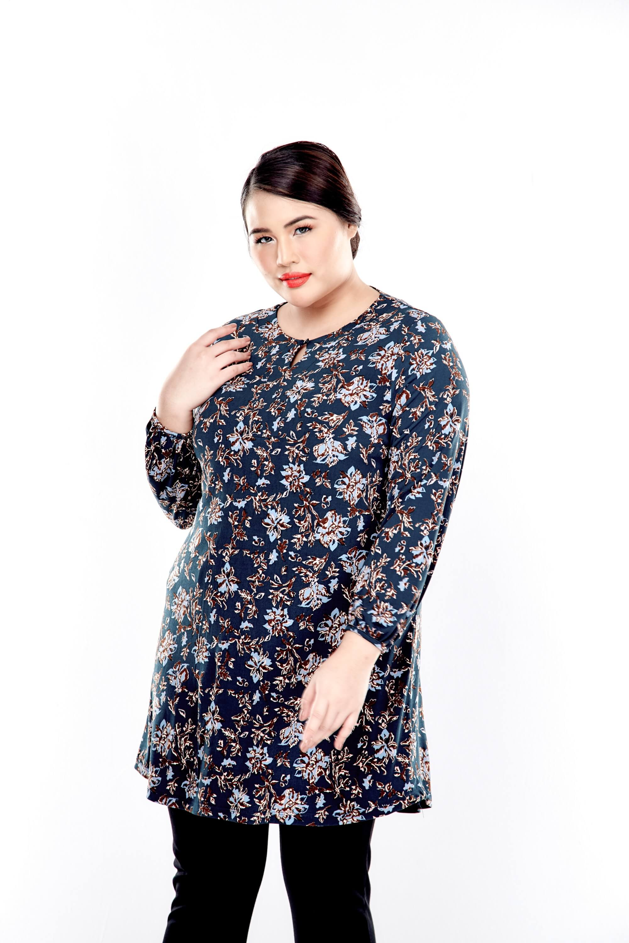 Green Printed Long Puffle Sleeve Top With Mushroom Button