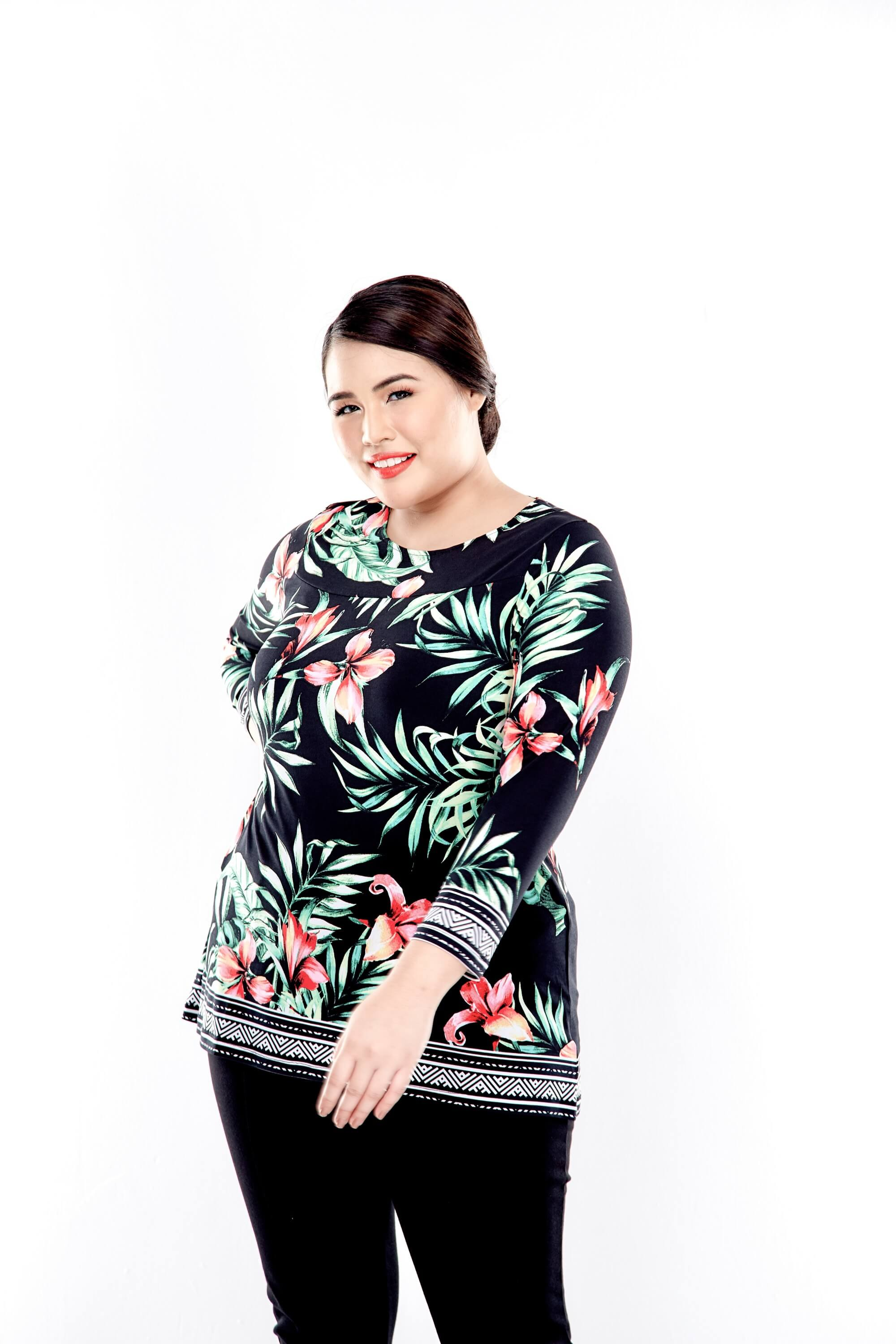 Green Printed Long Sleeve Blouse With Round Neck 2
