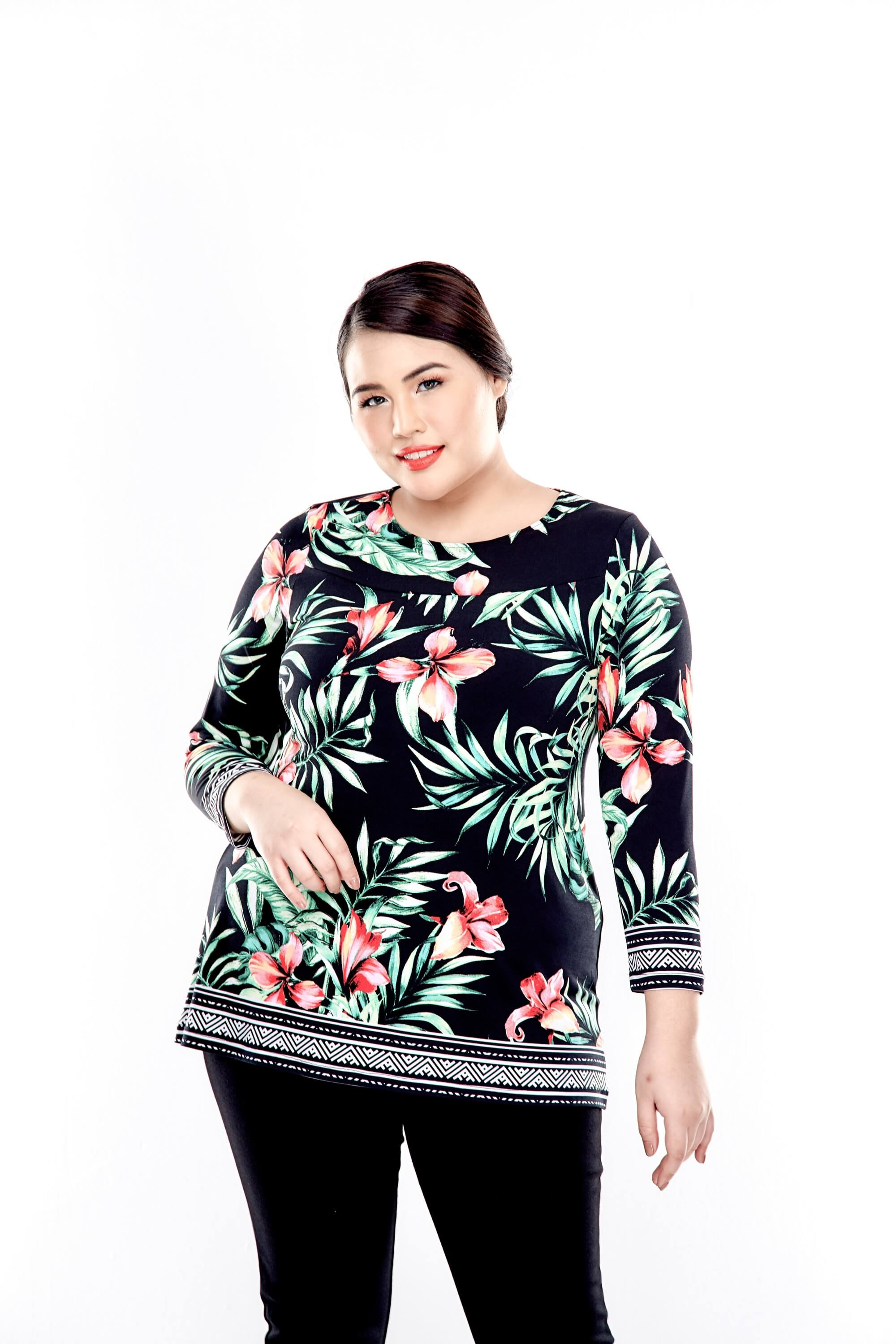 Green Printed Long Sleeve Blouse With Round Neck 4