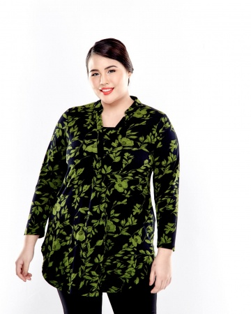 Green Printed Mid Length Blouse