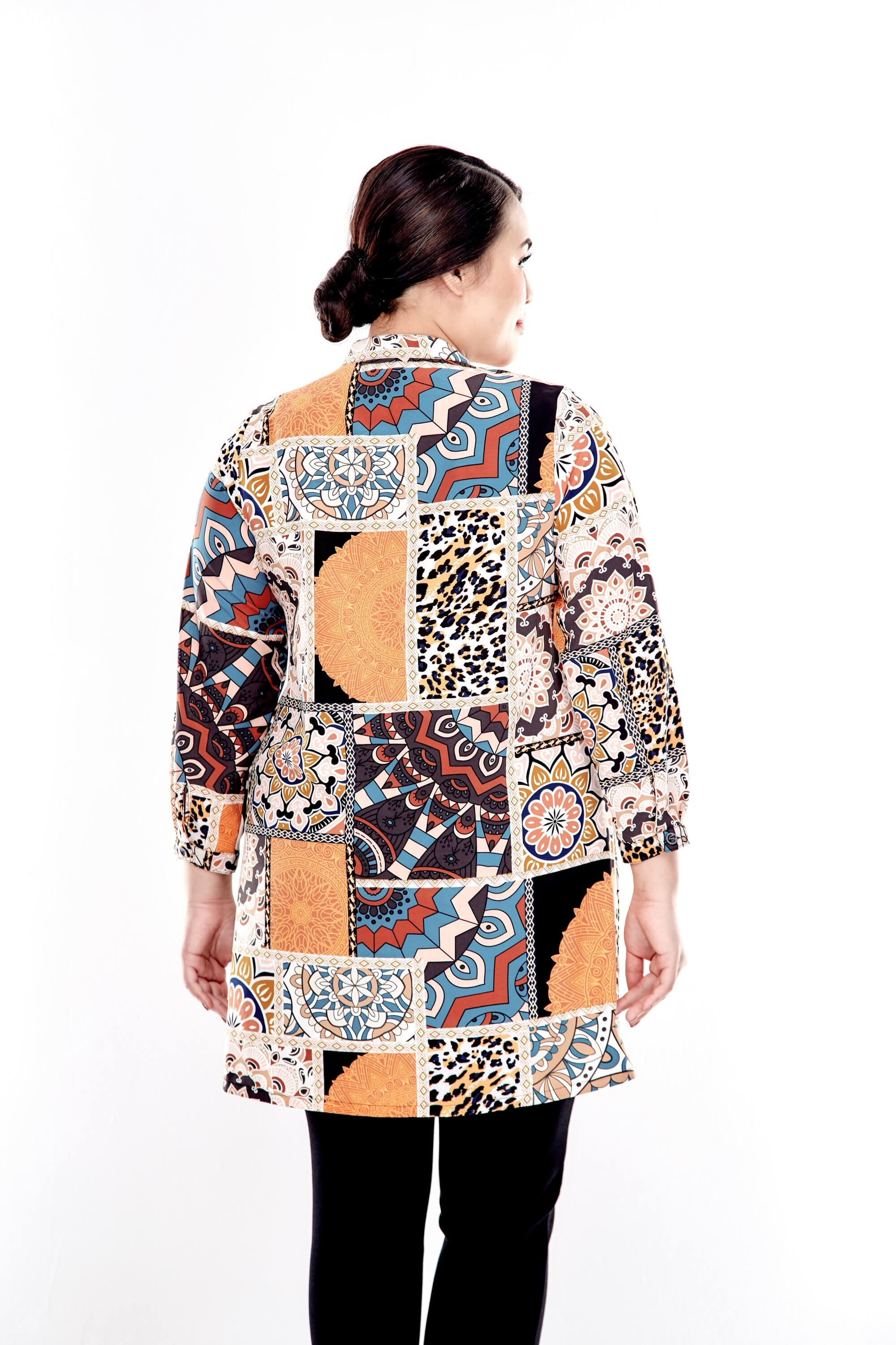 Orange Printed Long Sleeve Blouse With Front Button 1