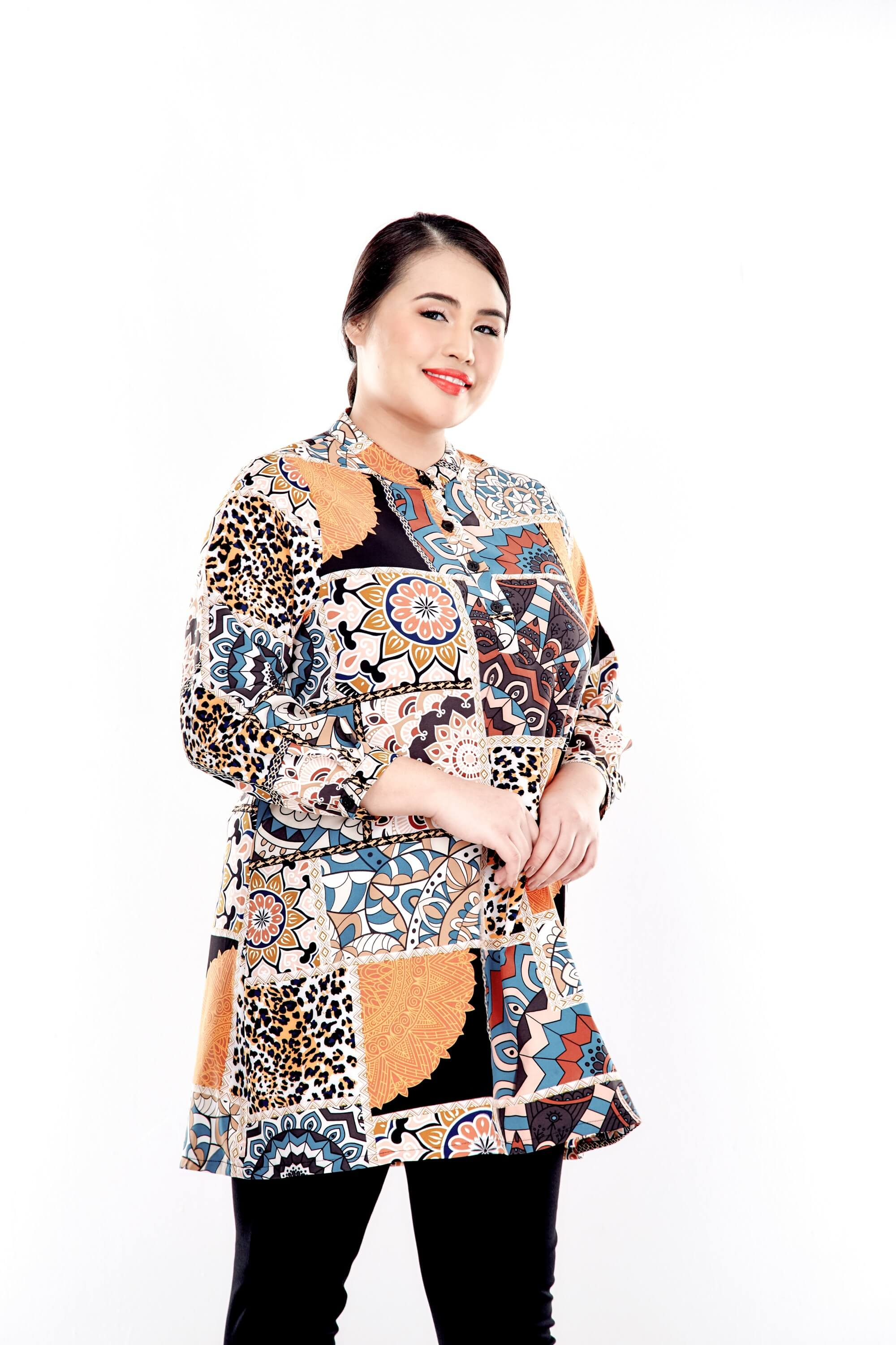Orange Printed Long Sleeve Blouse With Front Button 2