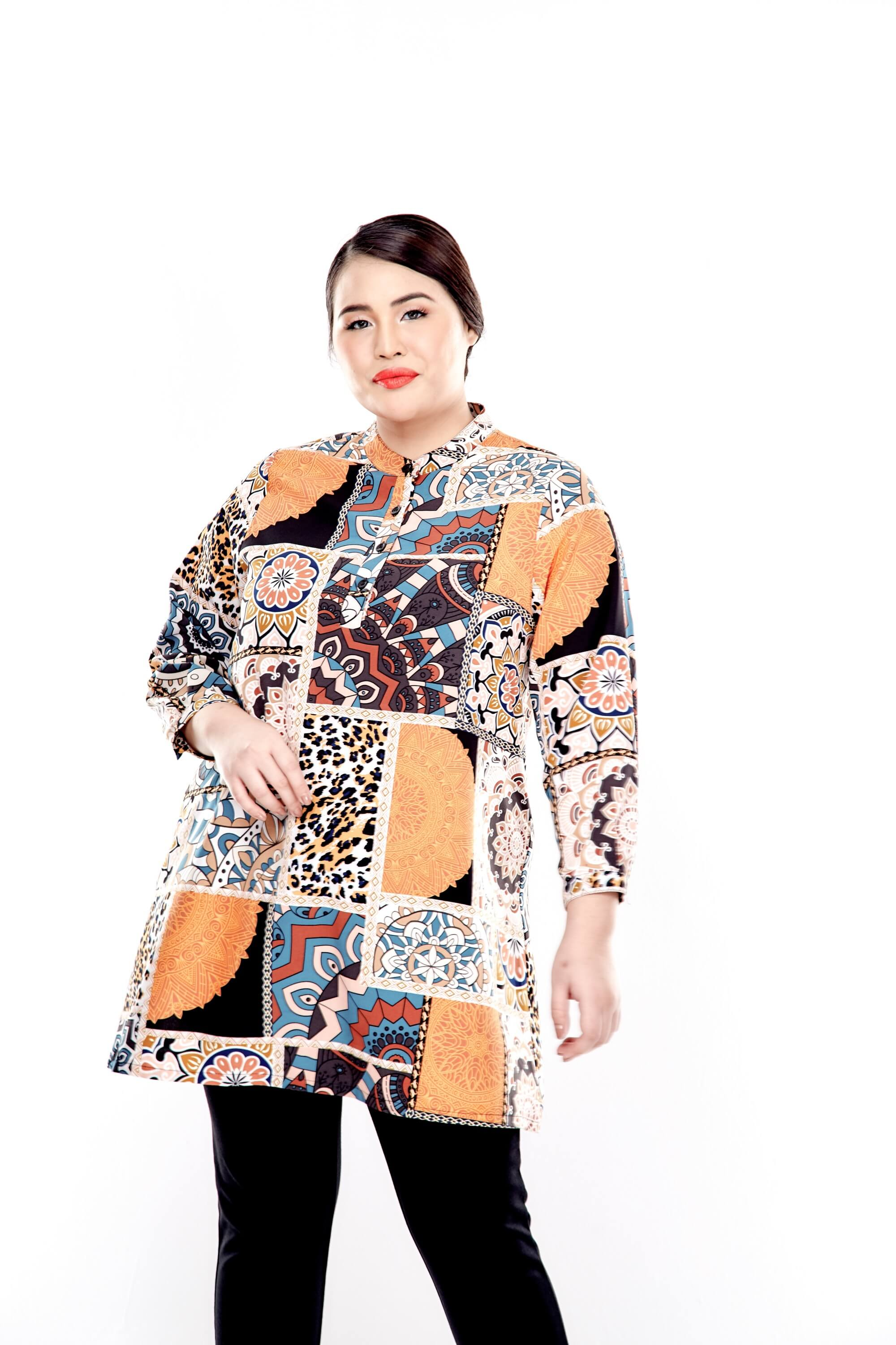 Orange Printed Long Sleeve Blouse With Front Button