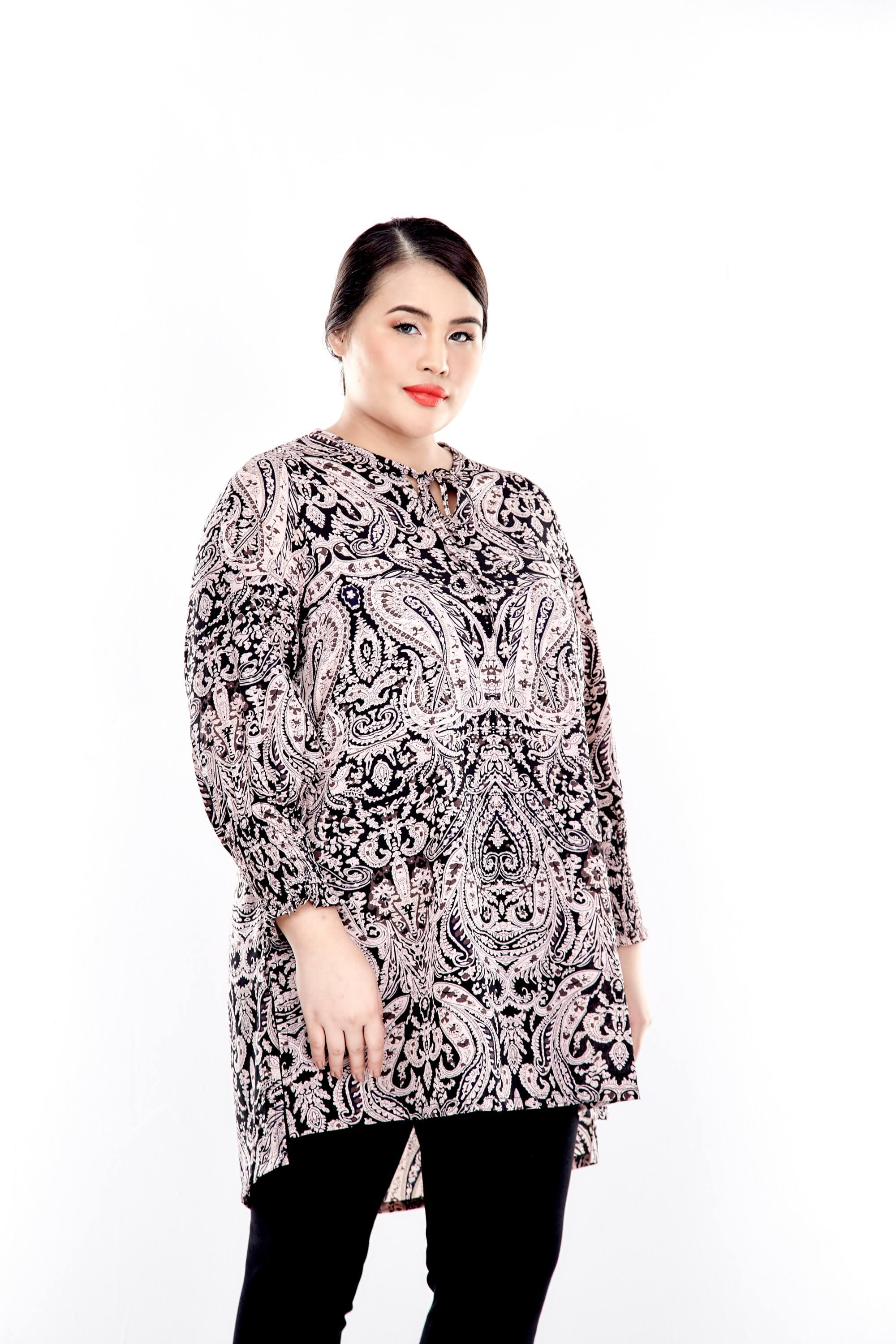 Pink Printed Long Puff Sleeve With Tie Front Top 1