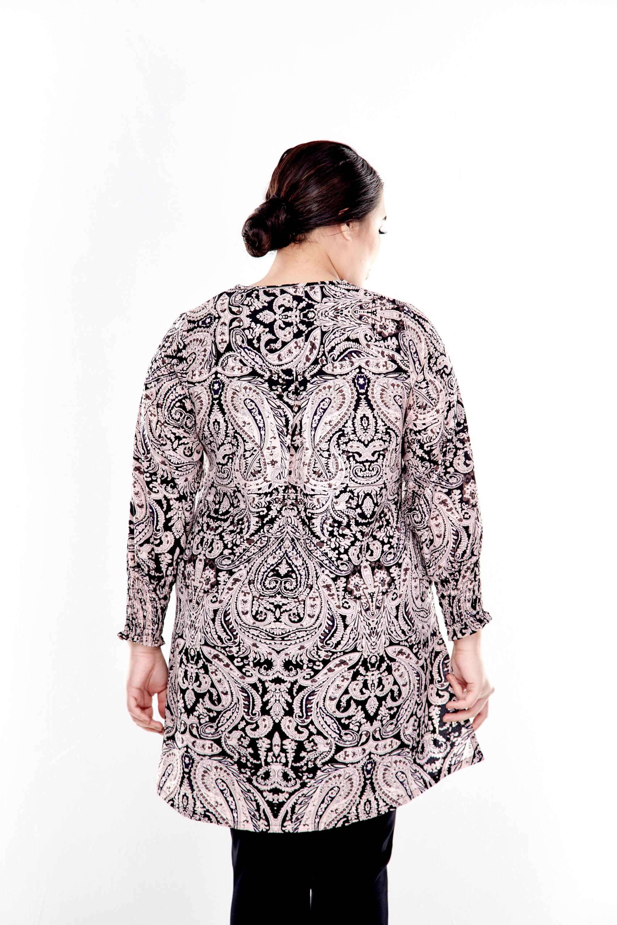 Pink Printed Long Puff Sleeve With Tie Front Top 2