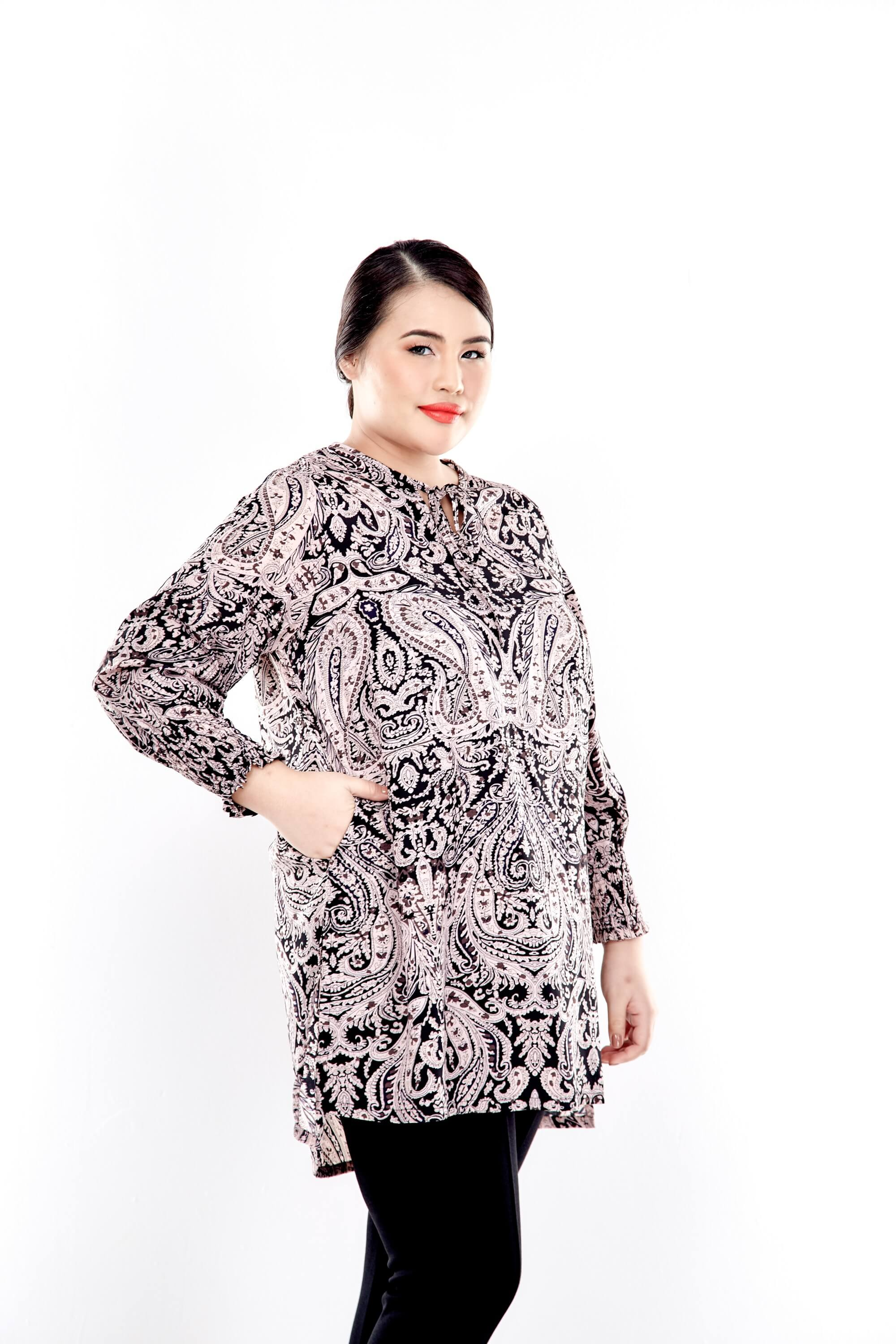 Pink Printed Long Puff Sleeve With Tie Front Top 3