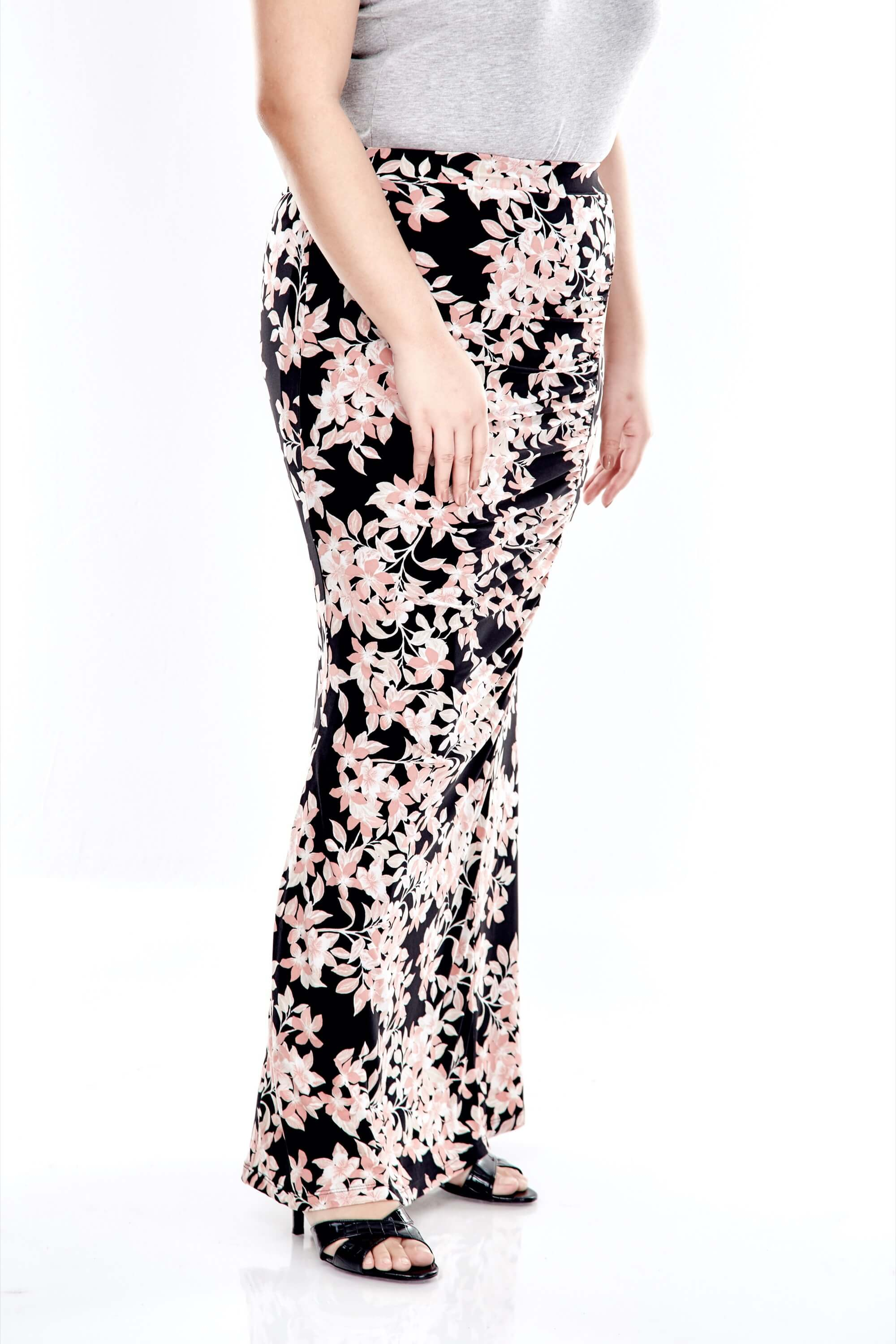 Pink Printed Long Skirt With Front Gathers 1