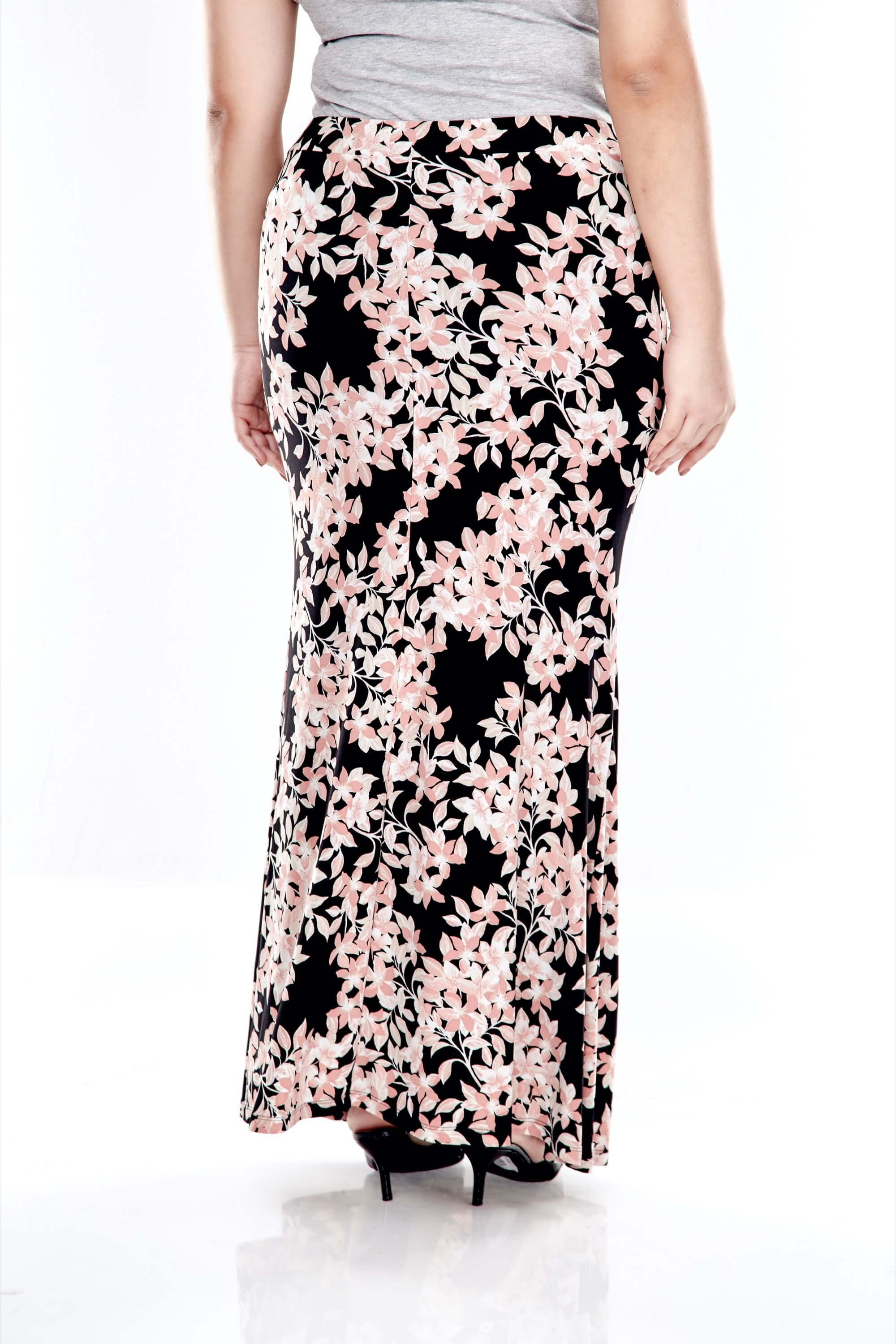 Pink Printed Long Skirt With Front Gathers 2