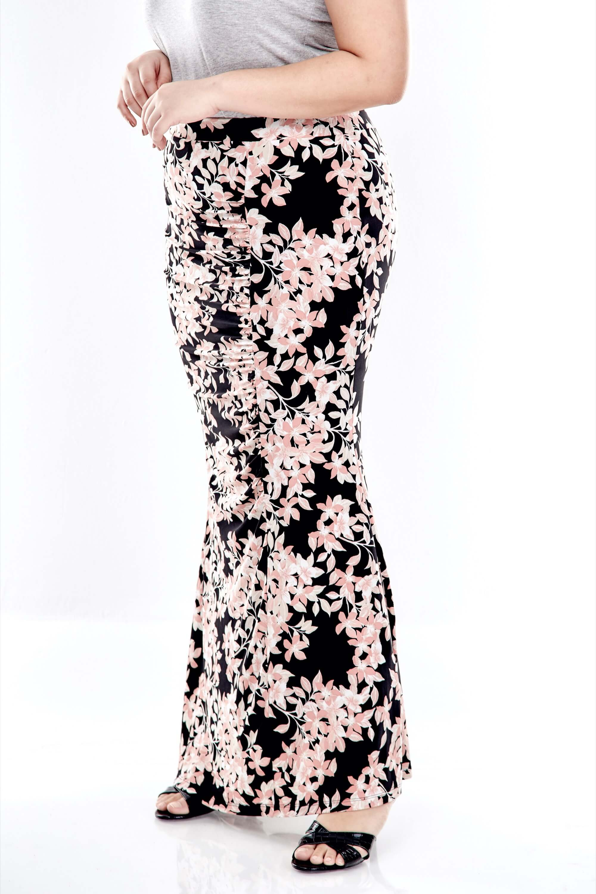 Pink Printed Long Skirt With Front Gathers 3