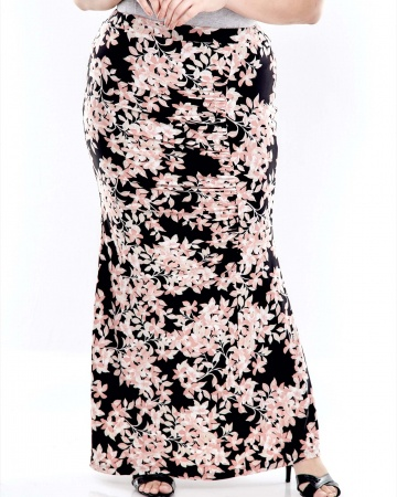 Pink Printed Long Skirt With Front Gathers