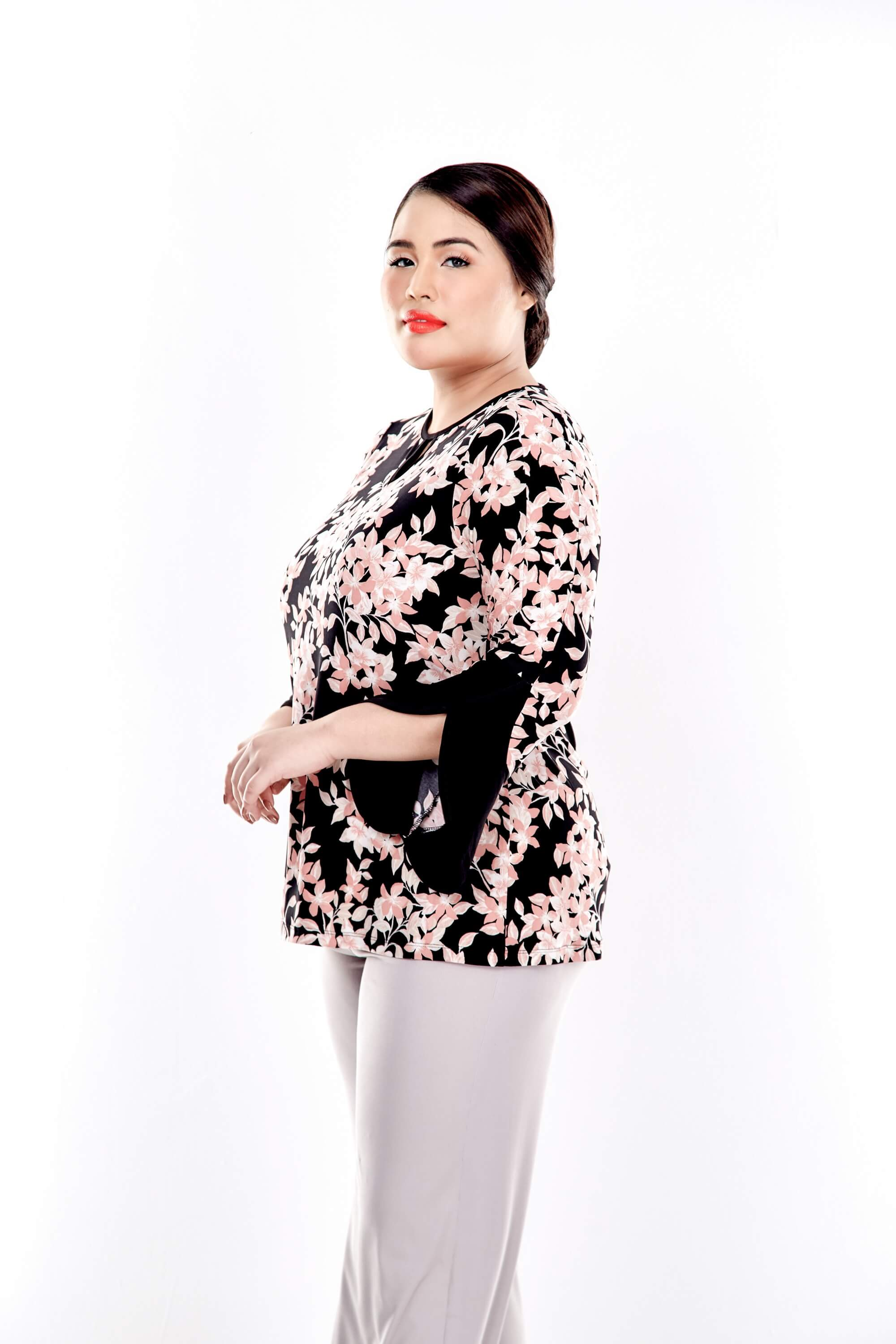 Pink Printed Long Sleeve Round Neck Blouse 2
