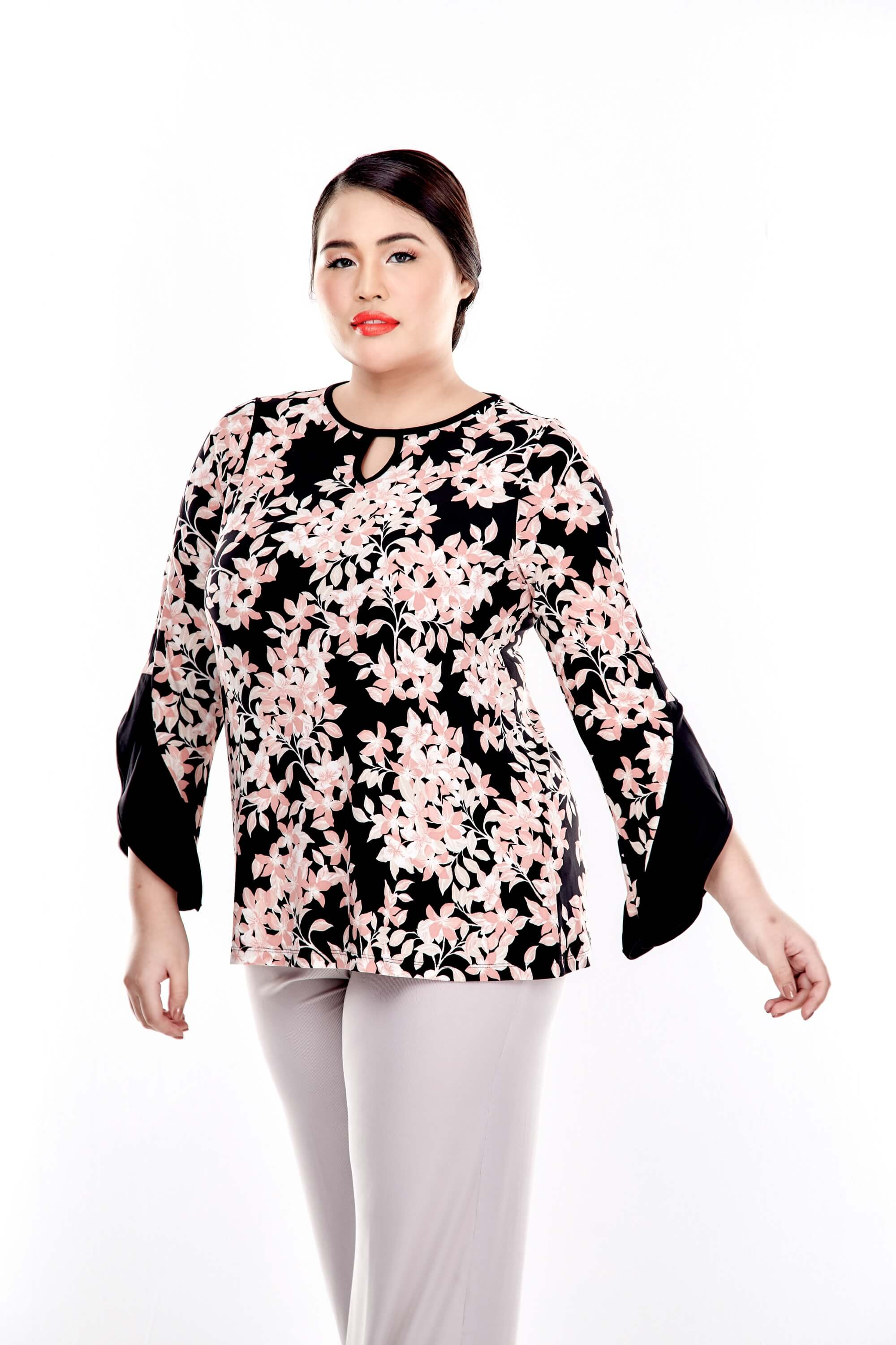 Pink Printed Long Sleeve Round Neck Blouse 4
